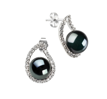 9-10mm AA Quality Freshwater Cultured Pearl Earring Pair in Isabella Black