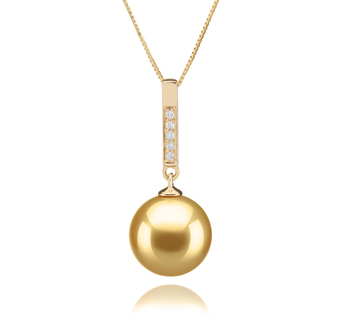 10-11mm AAA Quality South Sea Cultured Pearl Pendant in Janet Gold