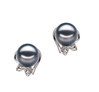 Jodie Black 6-7mm AA Quality Japanese Akoya 925 Sterling Silver Cultured Pearl Earring Pair Pearl Earring Set