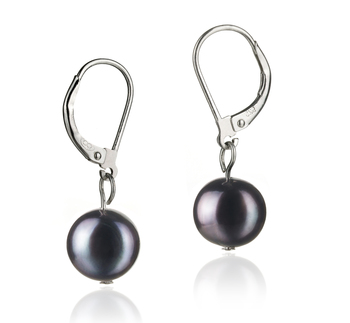 8-9mm A Quality Freshwater Cultured Pearl Earring Pair in Kaitlyn Black