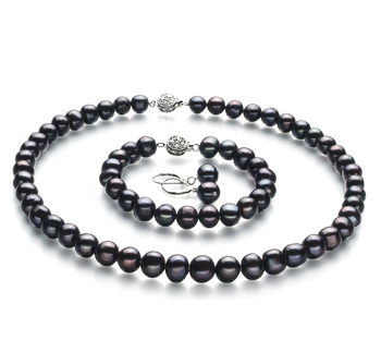 Kaitlyn Black 8-9mm A Quality Freshwater Pearl Set