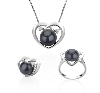 7-10mm AA Quality Freshwater Cultured Pearl Set in Katie Heart Black