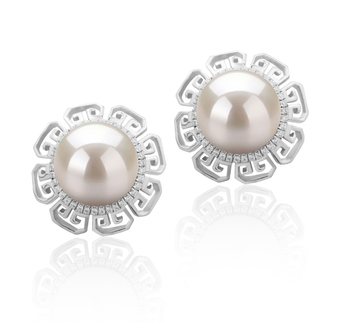 9-10mm AAAA Quality Freshwater Cultured Pearl Earring Pair in Leonie White