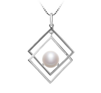 8-9mm AAA Quality Freshwater Cultured Pearl Pendant in Lilian White