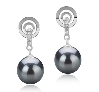 8-9mm AAAA Quality Freshwater Cultured Pearl Earring Pair in Madonna Black