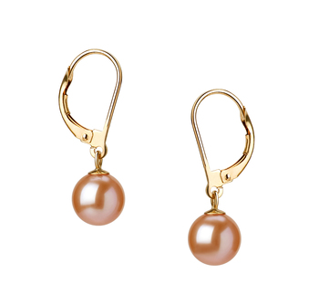 7-8mm AAAA Quality Freshwater Cultured Pearl Earring Pair in Marcella Pink