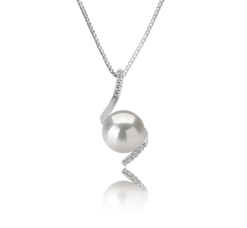 9-10mm AAAA Quality Freshwater Cultured Pearl Pendant in Mathilde White