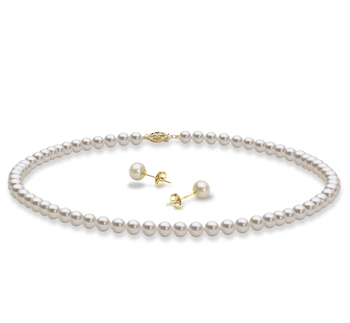5-6mm AAA Quality Freshwater Cultured Pearl Set in Necklace and Earrings White