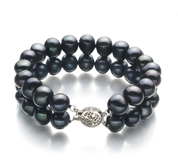 8-9mm A Quality Freshwater Cultured Pearl Bracelet in Black