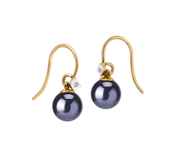 8-8.5mm AAAA Quality Freshwater Cultured Pearl Earring Pair in Black