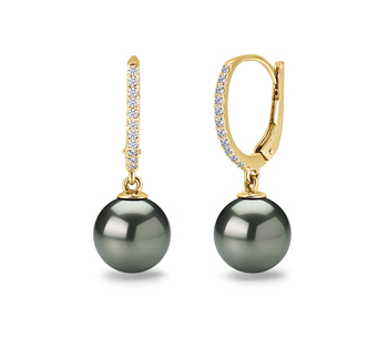 10-11mm AAA Quality Tahitian Cultured Pearl Earring Pair in Victoria Black