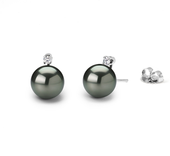 9-10mm AAA Quality Tahitian Cultured Pearl Earring Pair in Black