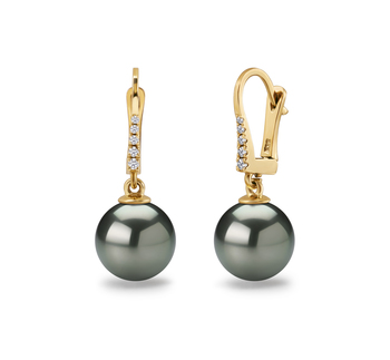 10-11mm AAA Quality Tahitian Cultured Pearl Earring Pair in Sparkle Black