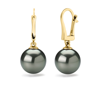 10-11mm AAA Quality Tahitian Cultured Pearl Earring Pair in Elements Black
