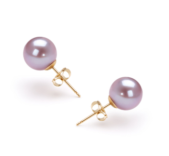 7-8mm AAAA Quality Freshwater Cultured Pearl Earring Pair in Lavender