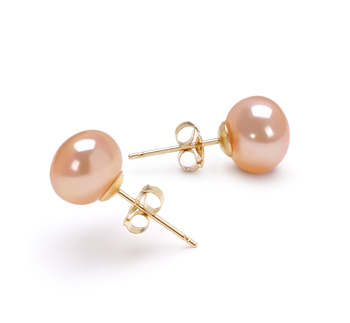 7-8mm AAA Quality Freshwater Cultured Pearl Earring Pair in Pink