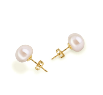 8-9mm AAA Quality Freshwater Cultured Pearl Earring Pair in White