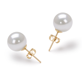 8.5-9mm AAA Quality Japanese Akoya Cultured Pearl Earring Pair in White