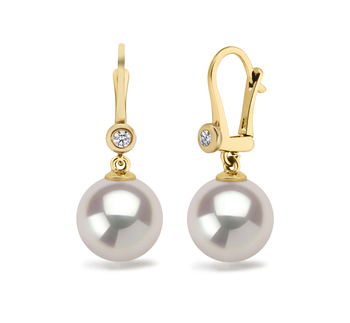 7.5-8mm AAA Quality Japanese Akoya Cultured Pearl Earring Pair in Illuminate White