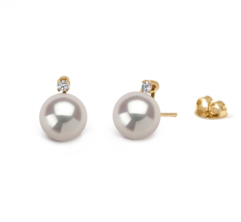 7-8mm AAA Quality Japanese Akoya Cultured Pearl Earring Pair in Eternity White