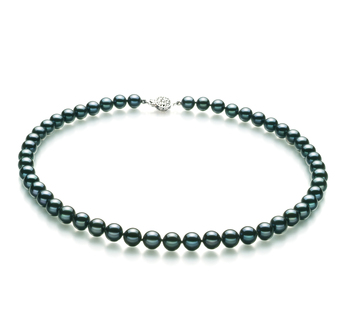 7.5-8mm AA Quality Japanese Akoya Cultured Pearl Necklace in Black