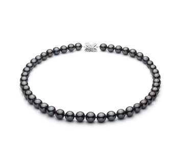 9.1-11mm AA+ Quality Tahitian Cultured Pearl Necklace in Black