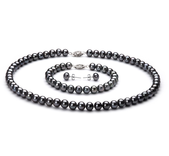 Black 6-7mm AA Quality Freshwater 925 Sterling Silver Pearl Set