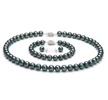 7.5-8mm AAA Quality Japanese Akoya Cultured Pearl Set in Black