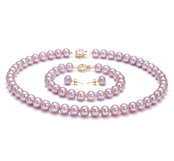 7.5-8mm AAA Quality Freshwater Cultured Pearl Set in Lavender