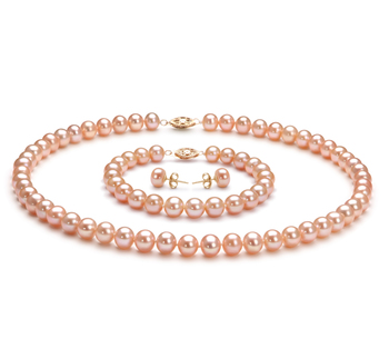 7-8mm AA Quality Freshwater Cultured Pearl Set in Pink