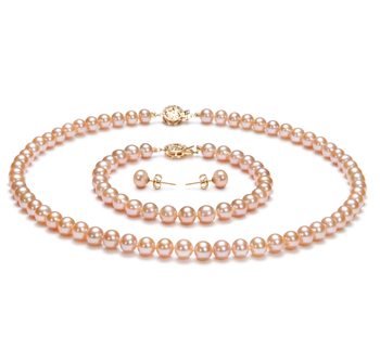6-7mm AAA Quality Freshwater Cultured Pearl Set in Pink