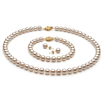 6-6.5mm AAAA Quality Freshwater Cultured Pearl Set in White