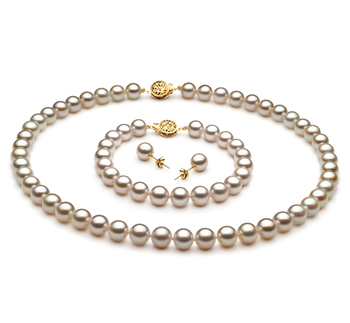 7.5-8mm AA Quality Japanese Akoya Cultured Pearl Set in White