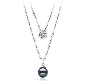 Ramona Black 7-8mm AA Quality Japanese Akoya 925 Sterling Silver Cultured Pearl Necklace