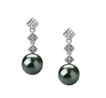 8-9mm AAA Quality Tahitian Cultured Pearl Earring Pair in Rozene Black