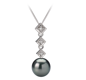 8-9mm AAA Quality Tahitian Cultured Pearl Pendant in Rozene Black