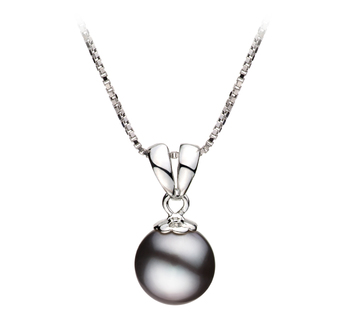 9-10mm AA Quality Freshwater Cultured Pearl Pendant in Sally Black