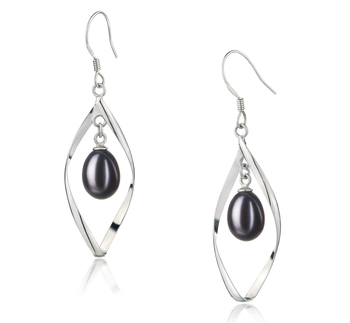 7-8mm AA - Drop Quality Freshwater Cultured Pearl Earring Pair in Sandy Black