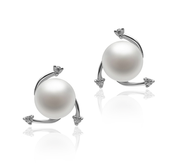 7-8mm AA Quality Freshwater Cultured Pearl Earring Pair in Selene White