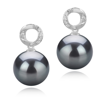9-10mm AAA Quality Tahitian Cultured Pearl Earring Pair in Shellry Black
