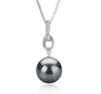 9-10mm AAA Quality Tahitian Cultured Pearl Pendant in Sierra Black