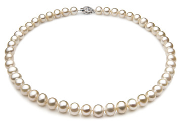 7-8mm A Quality Freshwater Cultured Pearl Necklace in Single White