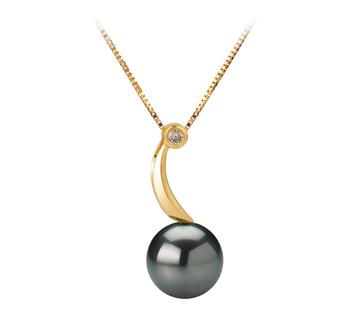 8-9mm AAA Quality Tahitian Cultured Pearl Pendant in Sora Black