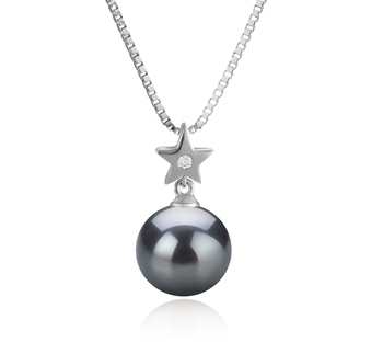 9-10mm AAA Quality Tahitian Cultured Pearl Pendant in Star Black