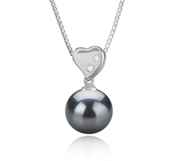 9-10mm AAA Quality Tahitian Cultured Pearl Pendant in Taima - Heart Black