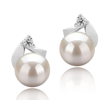 5-6mm AAAA Quality Freshwater Cultured Pearl Earring Pair in Tanita White