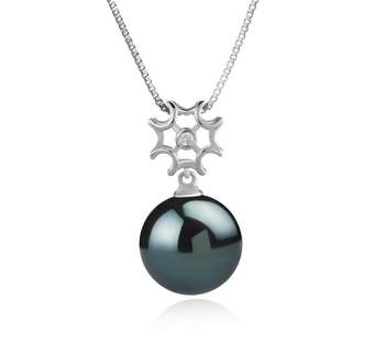 11-12mm AAA Quality Tahitian Cultured Pearl Pendant in Tatiana Black