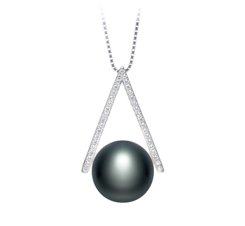 12-13mm AA Quality Freshwater Cultured Pearl Pendant in Triangle Black