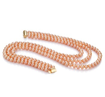 6-7mm AA Quality Freshwater Cultured Pearl Necklace in Verena Pink