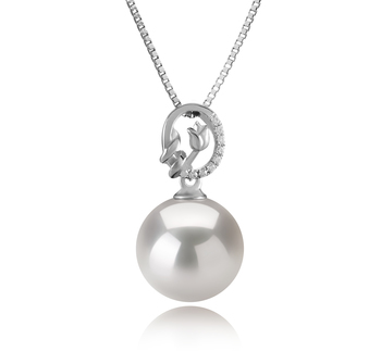 11-12mm AAAA Quality Freshwater - Edison Cultured Pearl Pendant in Trish White